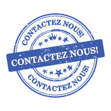 Contact us! French language Contactez nous business stamp Royalty Free Stock Images