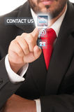Contact us futuristic concept Stock Photos