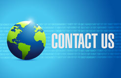 Contact us globe sign concept Stock Image