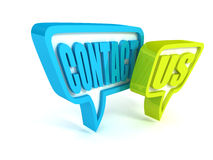 Contact us green blue speech bubbles icon on white. 3d Royalty Free Stock Photo