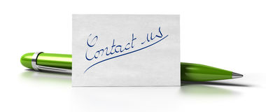 Contact us green pen Stock Photography