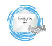 Contact us handshake concept Royalty Free Stock Photos