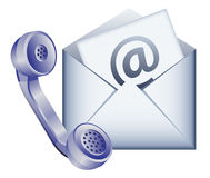 Contact us icon. Phone receiver and envelope - contact us by email icon stock illustration