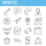 Contact us icon collection. Contact us, mail, operator, Line icon collection . Premium quality vector illustration icon set for your web design Royalty Free Stock Photos