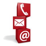 Contact Us Icon Cubes. Web and Internet contact us page concept with e-mail, at symbol and telephone icon on three red cubes isolated on white background royalty free illustration