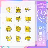 Contact us icon set with lineal style for service symbol. Communication icon bundle can use for website, app, UI, infographic, stock illustration