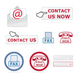 Contact us icons Stock Photos