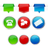 Contact us icons. Contact website elements: Phone, chat and e-mail. The blank icons are very useful for your individual text or graphic Royalty Free Stock Photo