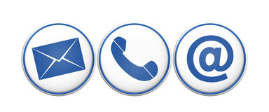Contact us icons 3d render icons Royalty Free Stock Images