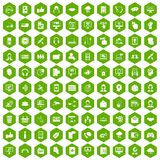 100 contact us icons hexagon green Royalty Free Stock Photography