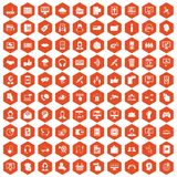 100 contact us icons hexagon orange. 100 contact us icons set in orange hexagon isolated vector illustration Royalty Free Illustration
