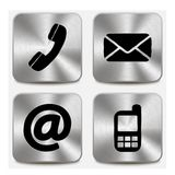 Contact us icons on metallic buttons Royalty Free Stock Images
