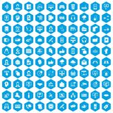 100 contact us icons set blue. 100 contact us icons set in blue hexagon isolated vector illustration Royalty Free Stock Images