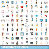 100 contact us icons set, cartoon style. 100 contact us icons set in cartoon style for any design vector illustration Royalty Free Stock Photos