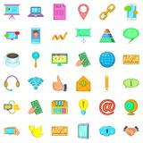 Contact us icons set, cartoon style Royalty Free Stock Image