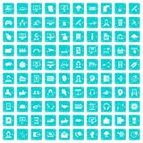 100 contact us icons set grunge blue. 100 contact us icons set in grunge style blue color isolated on white background vector illustration Stock Photo