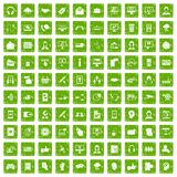 100 contact us icons set grunge green. 100 contact us icons set in grunge style green color isolated on white background vector illustration Stock Photos