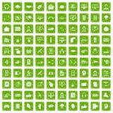100 contact us icons set grunge green Stock Photos