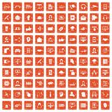 100 contact us icons set grunge orange. 100 contact us icons set in grunge style orange color isolated on white background vector illustration Royalty Free Stock Photo