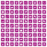 100 contact us icons set grunge pink. 100 contact us icons set in grunge style pink color isolated on white background vector illustration Stock Illustration