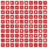 100 contact us icons set grunge red. 100 contact us icons set in grunge style red color isolated on white background vector illustration Royalty Free Stock Images