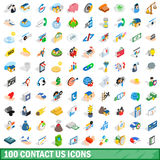 100 contact us icons set, isometric 3d style Stock Photography