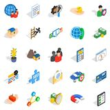 Contact us icons set, isometric style. Contact us icons set. Isometric set of 25 contact us vector icons for web isolated on white background Stock Photos