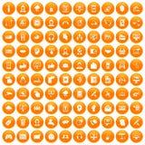 100 contact us icons set orange. 100 contact us icons set in orange circle isolated on white vector illustration stock illustration