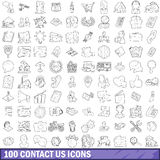 100 contact us icons set, outline style Royalty Free Stock Photography