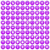 100 contact us icons set purple. 100 contact us icons set in purple circle isolated on white vector illustration Vector Illustration
