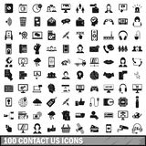 100 contact us icons set, simple style Royalty Free Stock Images