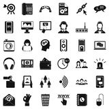 Contact us icons set, simple style Royalty Free Stock Photos