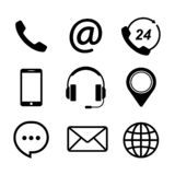 Contact us icons simple flat style.  royalty free illustration