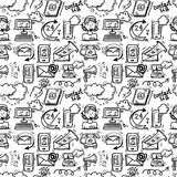 Contact us icons sketch. Contact us customer service sketch doodle icons seamless pattern vector illustration Stock Photos