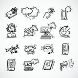 Contact Us Icons Sketch Stock Photography
