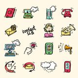 Contact us icons sketch stock illustration
