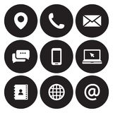 Contact us icons. White on a black background vector illustration