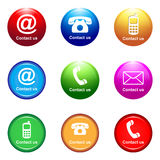 Contact us. Illustration of contact us icons on white background Stock Images