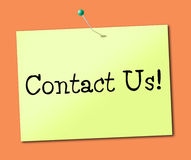 Contact Us Indicates Call Now And Chatting Stock Image