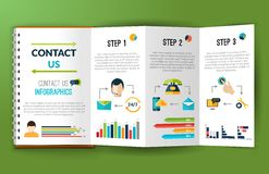 Contact us infographics note folder Stock Image