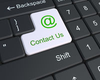 Contact us on the keyboard. With mail sign Royalty Free Stock Images