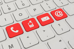 Contact us - keyboard - red Royalty Free Stock Photos