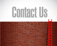 contact us ladder wall sign concept Royalty Free Stock Image