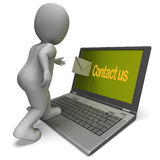 Contact Us On Laptop Shows Helpdesk Communication And Help Stock Photo