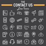 Contact us line icon set, web button signs Royalty Free Stock Images