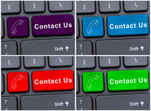 Contact us message button with cellphone icon Royalty Free Stock Photos