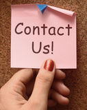 Contact Us Message Shows Email Or Phone Call Stock Photos