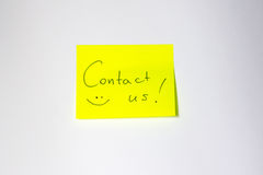 Contact us Motivational post-it Stock Photo