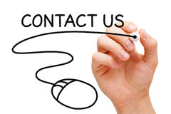 Contact Us Mouse. Hand sketching Contact Us concept with black marker on transparent wipe board Royalty Free Stock Photos