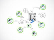 Contact us network diagram illustration Royalty Free Stock Image